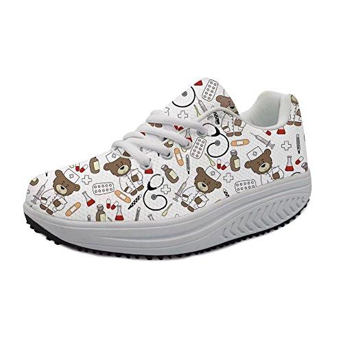Instantarts Kawaii Cartoon Bear Slimming Lace up Toning Cross Training Walking Shoes for Women White Sneaker Size 9
