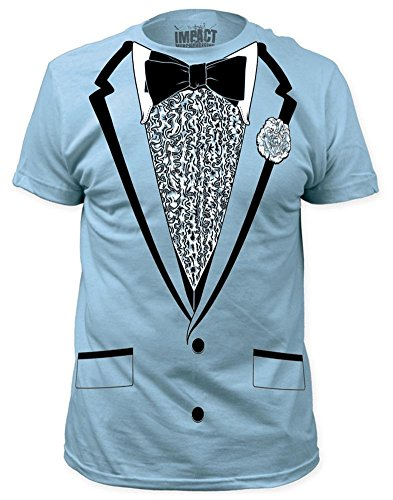 (Impact Originals Retro Prom Tuxedo Adult T-Shirt - Blue)