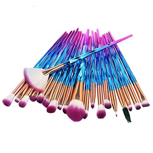 KOLIGHT Pack of 20pcs Cosmetic Eye Shadow Sponge Eyeliner Eyebrow Lip Nose Foundation Powder Makeup Brushes Sets (pink)