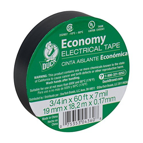 - Duck 299006 Utility Vinyl Electrical Tape, 3/4 Inch x 60 Feet (Single Roll), Black