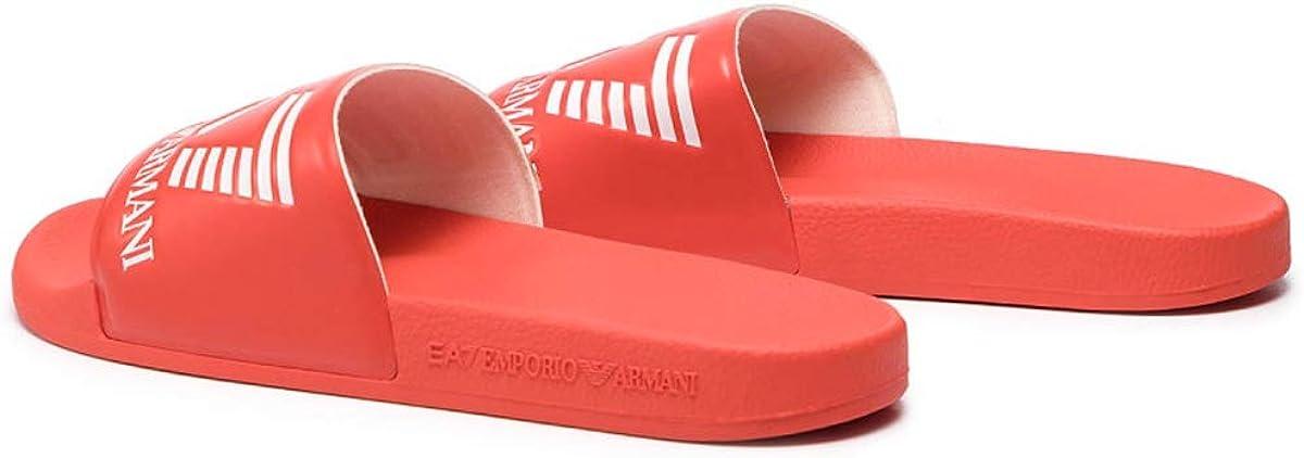 EA7 Hombre Sea World Sliders, Negro Rojo