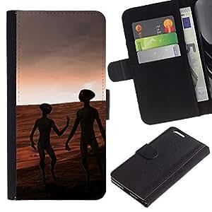 KLONGSHOP // Tirón de la caja Cartera de cuero con ranuras para tarjetas - Aliens On Mars - Apple Iphone 6 PLUS 5.5 //
