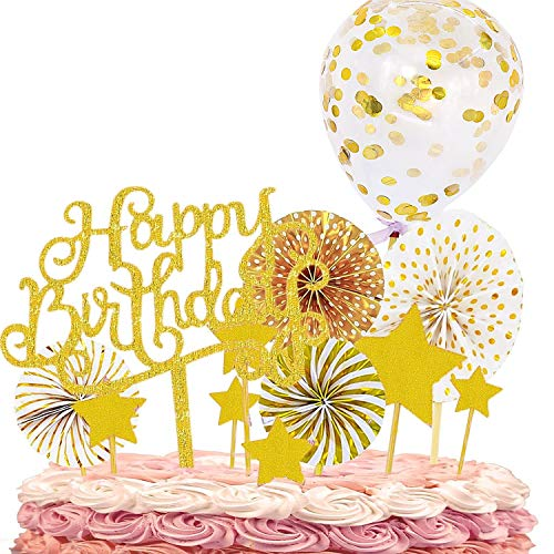12 PCS Happy Birthday Cake Topper Set Gold Acrylic Cupcake Topper Paper Fans Confetti Balloon Birthday Cake Supplies Decorations for Birthday party Wedding Baby Shower (Gold, B)