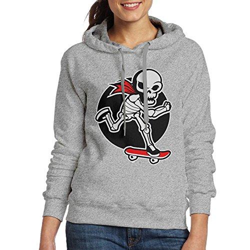 Squelette Tamponnant Femmes Sweat À Capuche De Planche À Roulettes Poche Kangourou Classique De Cendres Sweat-shirt