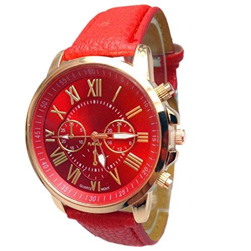 Binmer(TM)Women Geneva Numerals Faux Leather Analog Quartz Wrist Watch (Red)