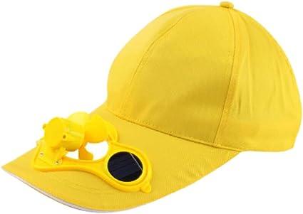 GLLGLT Gorras de Ventilador Solar, Gorras de Sol, Gorras de Pico de Pato, Gorras de béisbol, Gorras de Hombres y Mujeres, Viseras diarias al Aire Libre (Color : Amarillo, tamaño : One