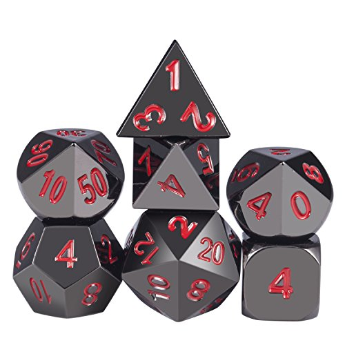 (Metal Dice Set D&D, Zinc Alloy 7-Die Polyhedral Dice Set with Red Numbers for Dungeons and Dragons Role Playing Game DND RPG Shadowrun and Math Teaching)