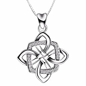 925 Sterling Silver Irish Good Luck Celtic Knot Vintage Pendant Necklace, Box Chain 18""