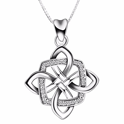 """925 Sterling Silver Irish Good Luck Celtic Knot Vintage Pendant Necklace, Box Chain 18"""""""