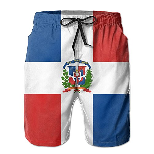 WANGERSH2 New Dominican Republic Flag Men's Beach Pants,Shorts Beach Shorts Swim Trunks