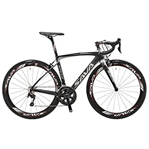 SAVADECK 700C Road Bike T800 Carbon Fiber Frame / 50MM Wheelset / Fork / Handlebar / Headset / Seatpost with Shimano 22 Speed 105 5800 Maxxis 23C Tire and Fizik Saddle Ultra-light 17.86lb