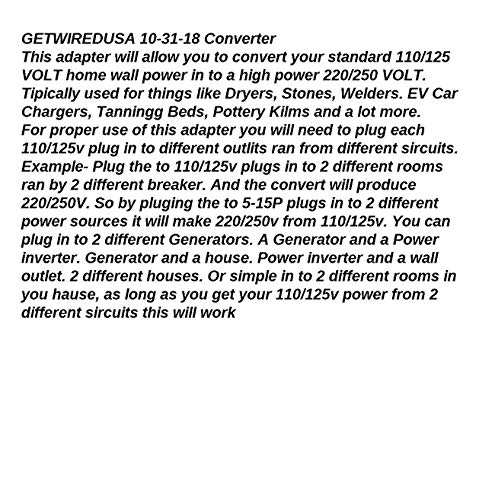 Power Converter 110/125V To 220/250V Electric Adapter 5-15P Wall Plug To 10-50R Range Stove Oven Receptacle Outlet Box NEMA by getwiredusa (Image #1)
