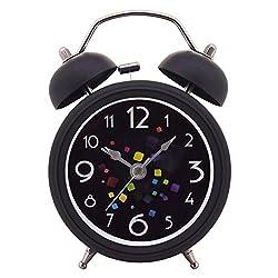 Konigswerk 3 Non-ticking Quartz Analog Retro Vintage Bedside Twin Bell Alarm Clock With Loud Alarm and Nightlight (Black) AC039G