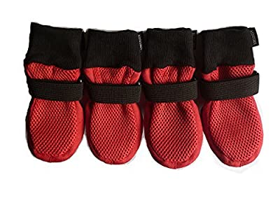 Paw Protector Dog Boots Set of 4 Breathable Soft Sole and Nonslip Color Red in 5 Sizes
