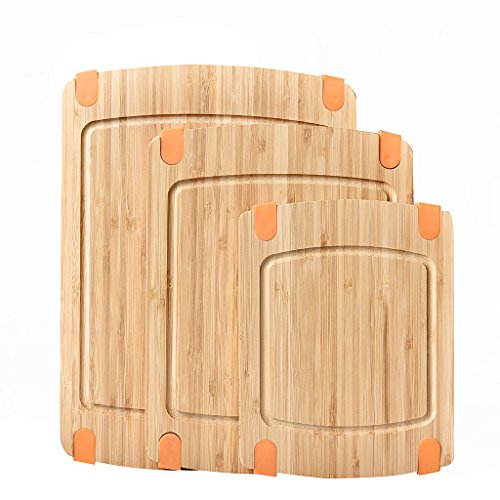 oo Cutting Board Set: Wooden Butcher Block Boards with Juice Groove and Non-Slip Edged Rubbler Bar Board ()