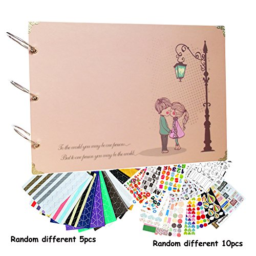 Scrapbook Diy Photo Album Sweet Lover with Scrap booking Stickers 10 X 7 Inch for Anniversary Gift, Wedding Guest Book