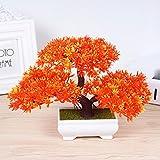 Situmi Artificial Fake Flowers PlasticGreen PlantsBonsaiTreeDesktopdecor,Orange3525cm