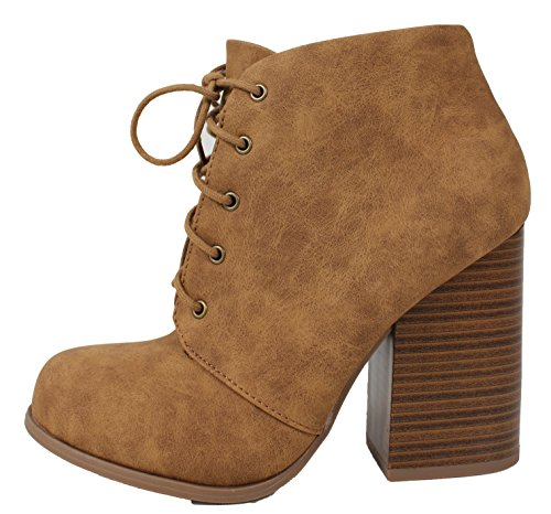 Limit Speed Toe Closure Tan Ankle M 98 Black 55 Bootie Block Closed US Women's up Lace Stacked Heel 4dIdr0