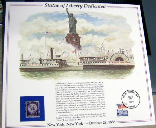 Autograph Warehouse 80663 1994 Statue Of Liberty Dedicated United States Postal System Commemorative Stamp Sheet from Autograph Warehouse