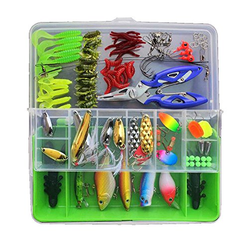 Chicheng 100PCS Ice Fishing Jig Kit With Carbon Steel Hooks in Tackle Box and 12.6cm multi-function Fishing Pliers