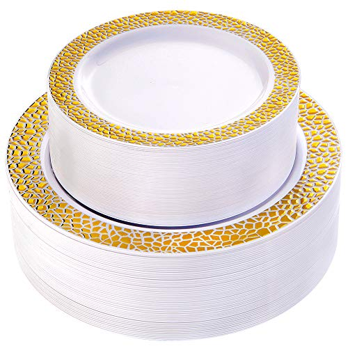 WDF 102pcs Gold Plastic Plates -White with Hammered Design Disposable Wedding Party Plastic Plates Include 51 Plastic Dinner Plates 10.25inch,51 Salad/Dessert Plates 7.5inch