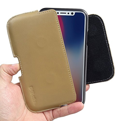 Apple iPhone X / iPhone 10 Case, Leather Case, Pouch, Holster, Wallet Case, Protective Case, Phone Case - Luxury Leather Holster Pouch Case With Belt Clips (in Slim Case/Cover) (Tan) by Pdair