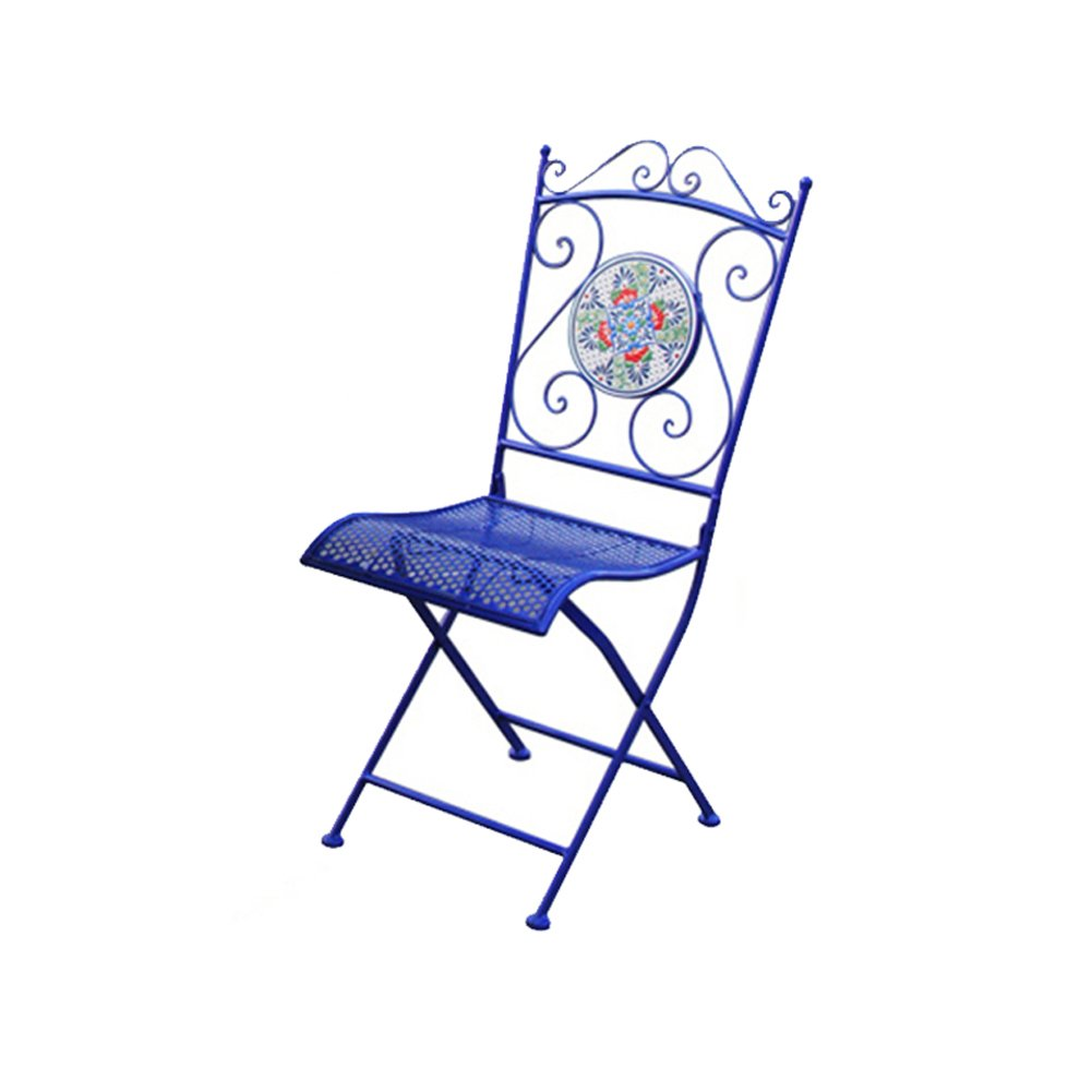 XXHDYR Europäische Schmiedeeisen Mosaik Outdoor-Balkon Freizeitmöbel Nachtisch Shop Café Tisch Und Stuhl Kombination Dreiteilig Klapptisch (Farbe : Blau, größe : One stools)