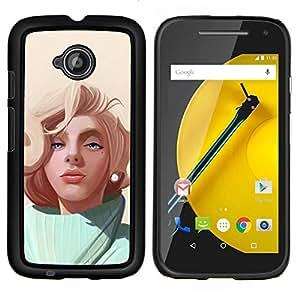 Jordan Colourful Shop - Blonde Painting For Motorola Moto E 2nd Generation Personalizado negro cubierta de la caja de pl????stico