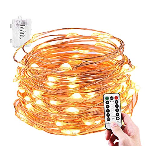 String Lights, Sanniu Battery String Lights Waterproof Design 16ft 50 LED,String Lights Battery with Remote Control 8 Modes Warm White -