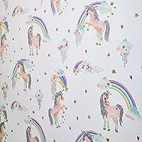 Arthouse Regenboog Eenhoorn Patroon Childrens Behang Glitter Pony Hart Motief (Wit 696109)
