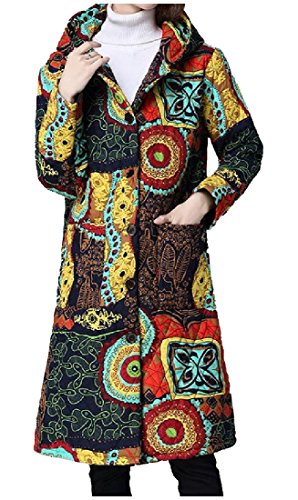 Pivaconis Women's Warm Floral Hood Outwear Linen Ethnic Style Parka Jacket Yellow Large Coated Cotton Linen Jacket