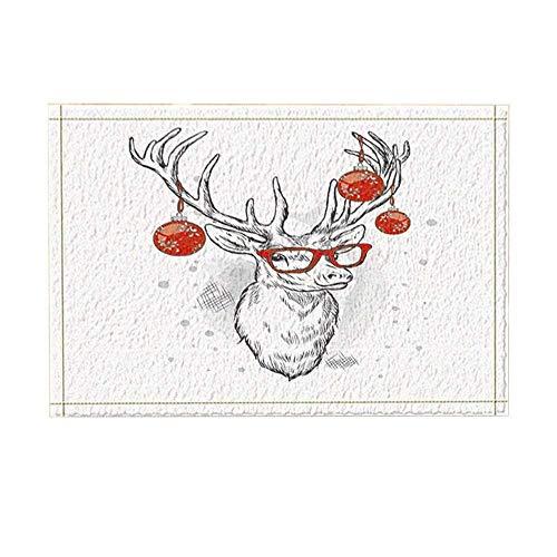 Christmas Decors Elk Deer with Red Xmas Ball on Antlers for New Year Bath Rugs Non-Slip Doormat Floor Entryways Indoor Front Door Mat Kids Bath Mat 15.7X23.6In Bathroom Accessories