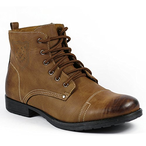 Polar Fox M-537 Brown Mens Military Lace Up Combat Work Desert Ankle Boot w/ Leather Lining (7.5)