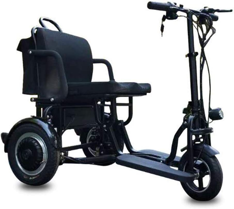 Y-L Triciclo Eléctrico Plegable Portátil para Ancianos Discapacitados, Aleación de Aluminio, Batería de Litio Liviana, Mini Triciclo de Neumático Sólido de 10 Pulgadas para Edades Antiguas, Negro