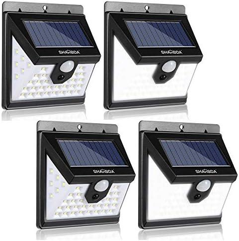 SHARBDA Solar Lights Outdoor,Wireless Motion Sensor Lights, 40LEDs 3 Optional Modes,Waterproof Wall Lights 270 Wide Angle, IP65 Waterproof, Security Lights for Front Door, Yard, Garage, Deck 4Pack