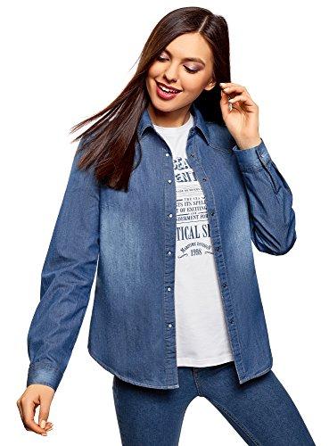 Boutons Ultra Chemise Bleu Jean en 7500w oodji Pression Femme ZFqqP