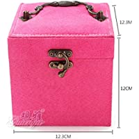 Lovely flannelette three layers of makeup box Earrings Storage Boxes Jewelry case rose red YXP31