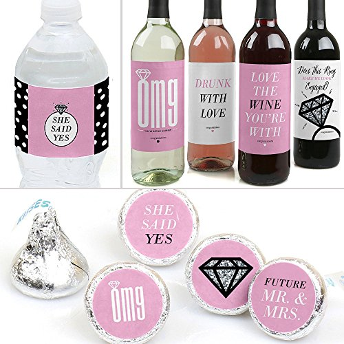 OMG, You're Getting Married! - Engagement Party Decorations & Favors Kit - Wine, Water and Candy Labels Trio Sticker Set (Trio Wine)