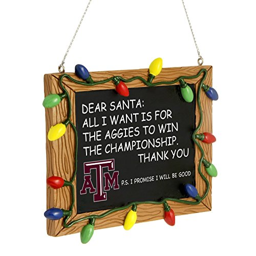 Forever Collectibles Texas A&M Aggies Official NCAA 3 inch x 4 inch Chalkboard Sign Christmas Ornament 981450