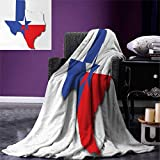 smallbeefly Texas Star Digital Printing Blanket Outline The Texas Map American Southwest Austin Houston City Summer Quilt Comforter 80''x60'' Vermilion White Violet Blue