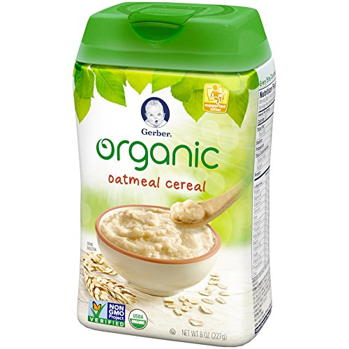 Gerber Organic Single-Grain Oatmeal Baby Cereal, 8 Ounce