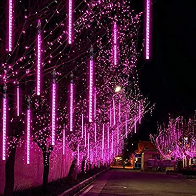 FunDiscount 30cm 6 Tubes Falling Rain Lights Meteor Shower Lights Waterproof Rain Drop Icicle Light Outdoor Raindrop Light Christmas String Light for Wedding Party Tree Holiday Decoration (Pink)