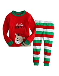Little Boys Girls' Flying Reindeer Christmas Pjs Sleepwear Cotton Pajamas Sets