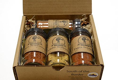 South of the Border Gift Set of 4 ~ Gift Set by High Plains Spice Company ~ Gourmet Meat and Veggie Spice Blends & Rubs For Beef, Chicken, Veggies & All Recipes ~ Spice Blends Handcrafted In Colorado