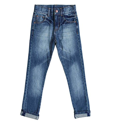 Bienzoe Little Boy's Cotton Adjustable Waist Slim Denim Pants Blue Jeans 5