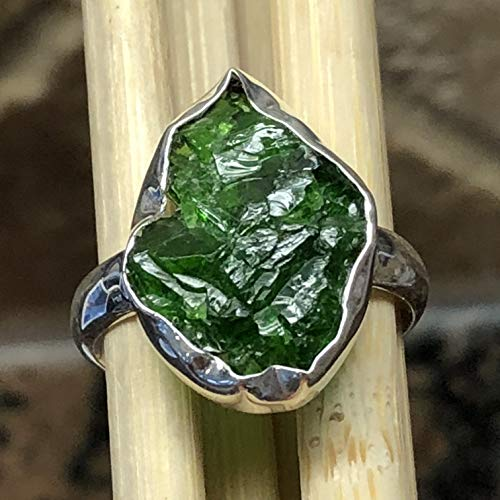 (Natural Chrome Diopside, Raw Chrome Diopside, Russian Diopside, Green Diopside 925 Sterling Silver Cluster Ring sz 8.5 )