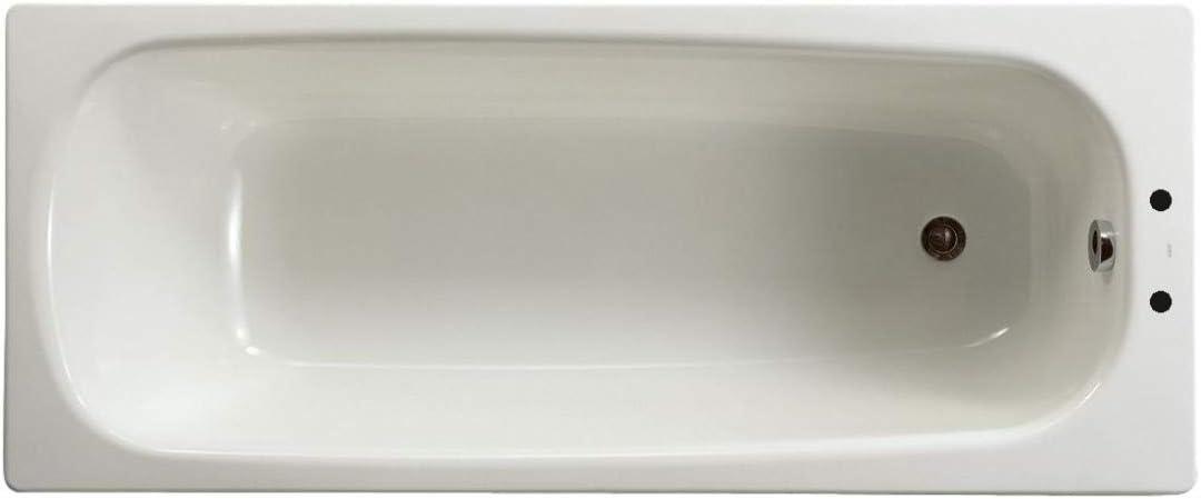 Baignoire CONTESA 170x70cm en acier /émaill/é /épaisseur 1,5mm perc/ée 2 trous D30mm bord plat avec pieds m/étal /à viss