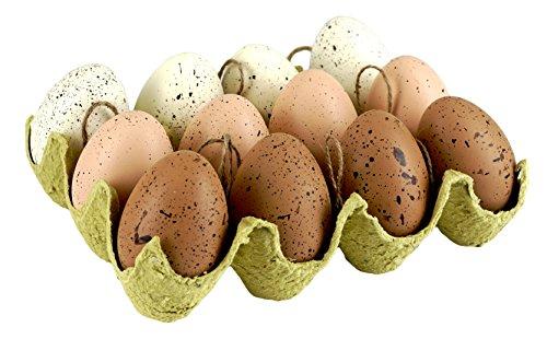 Natural Speckled Artificial Easter Egg Hanging Ornaments - Set of 12