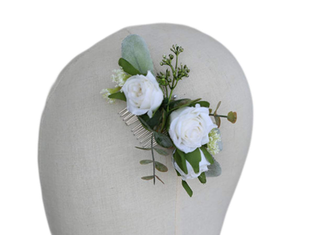 FIDDY898 Silk Rose Floral Hair Accessories Greenery Wedding Hairpiece-Comb