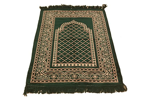 Perfect Quality Velvet Mihrab Hutbe Pattern Islamic Prayer Rug Janamaz Sajjadah Muslim Namaz Seccade Turkish Prayer Rug (Green) by MKISLA